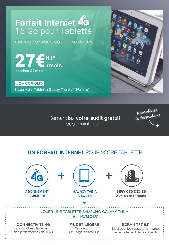 Forfait internet 4G pour tablette pour 27€*HT par mois !